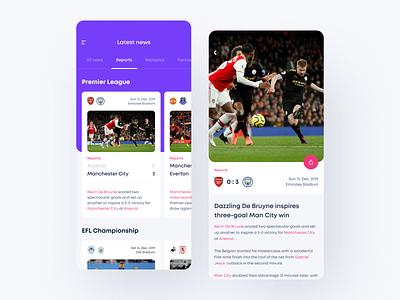 Sport News App soccer football app football soccer app sport app sports design sport news feed newsfeed news design ui clean app mobile white ios