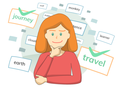 Drill_Vocabulary wonder thinker think woman studying ui ux design asset app design character thinking person affinity affinitydesigner illustration flashcards vocab drill ai english learning app