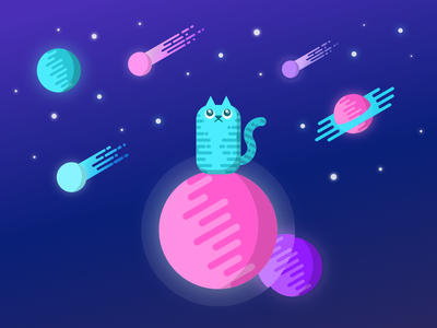 MOONCAT glow night digitaldrawing uiuxdesign galaxy curve stars star kitty animal cute character illustration design universe planet outer space space cats cat