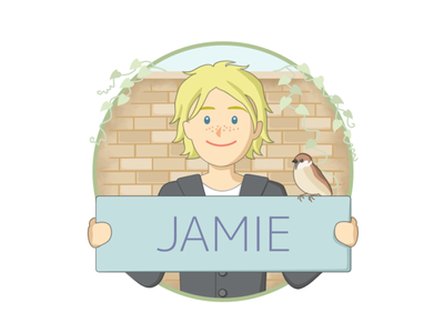 Jamie and a sparrow lgbtq ivy leaf nature wall brick blonde bird man woman brush app english learning design boy girl education illustration character