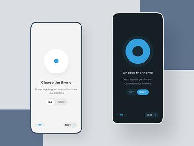 Switch theme app design ux ui interface choose onboarding light theme lights dark blue dark theme dark mode