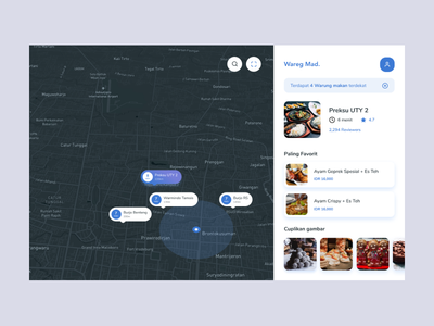 Exploration - Map minutes estimate distance white blue snackbar card image meter point account food order map