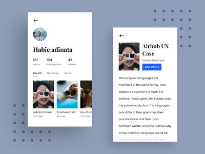 Exploration - Blog post exploration case study clean design app ux ui interface blog design typography header menu author card article blog