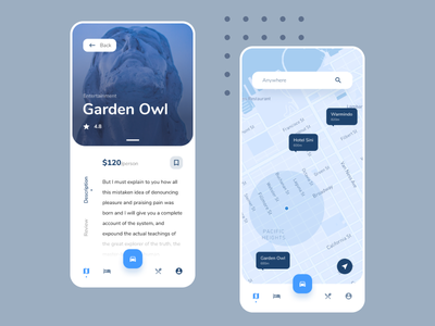 Exploration with map branding blue app ux ui design interface order map price direction places car