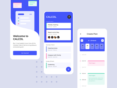 Calcol - task planner card clean app ux ui interface design colaboration planer meeting task calendar design planing calendar