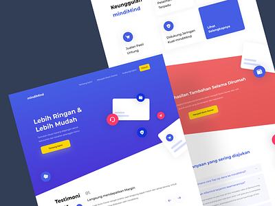 mindiMind - Landing page layout red landingpage icon illustration branding web blue typography ui design interface