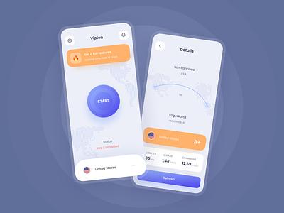 Visual exploration for VPN app start status country home details ux ui illustration blue app design vpn app vpn