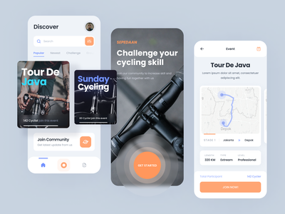 Cycling app - visual exploration challenge card layout join community map route cycling app bicycle cycle