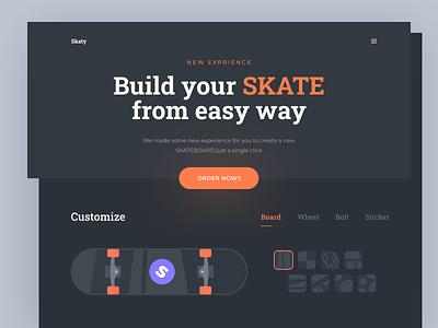 Custom Skateboard - Skaty buy order single page custom landing page landing page dark mode dark custom skaterboard skate