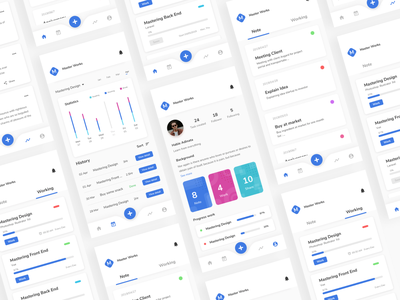 Master Work - Exploration product cards remaining profile blue work note timeline ui clean ui curve modern clean