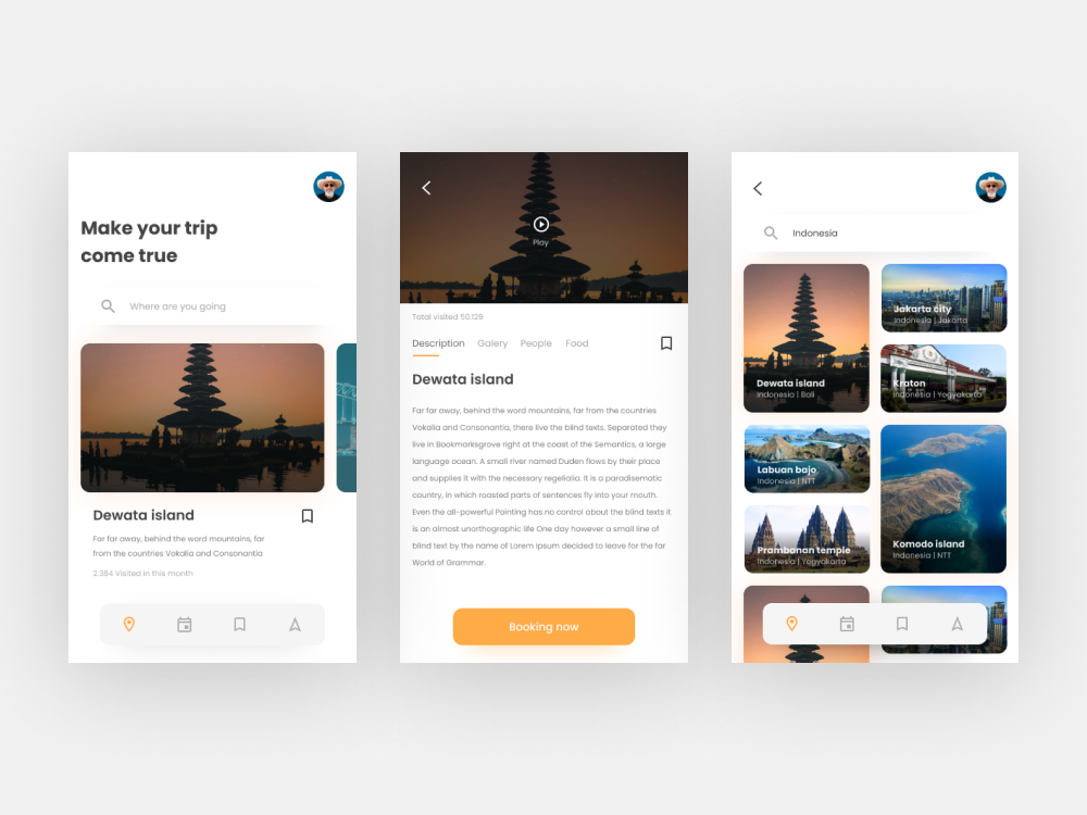 Exploration trip app travel booking ui ux app exploration explore nav navigation bookmark card profile card profile search