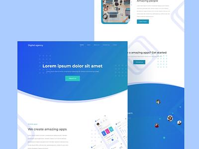 Landing Page - Digital Agency company web design landing page design app ux illustration typography web interface