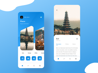 Exploration - traveling app card holiday destination icon app design place traveling travel interface