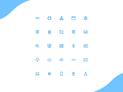 icon set developer and technology technology development developer blue vector icon set icon logo illustration design ui ux interface app