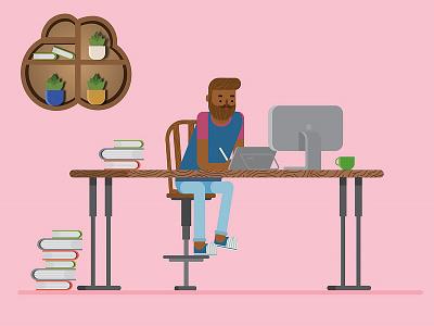 Designer`s Office minimalism office chatacter design flat design