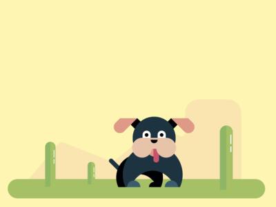 Cute Dog | Flat Drawing