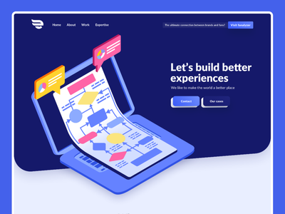 Web/Ux agency blue vector agency website uiux landing page agency design webdesign minimal web clean