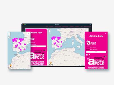 Map of Folk Festivals interactive map javascript ui ux design webmapping web ui webmap map maps map design gis custom maps cartography