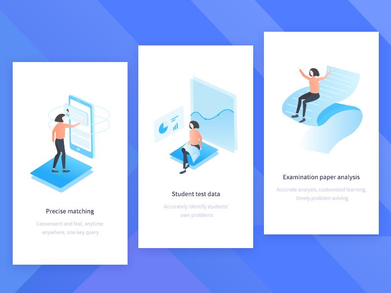 800x600 page guide cartoon blue 2.5d education ui