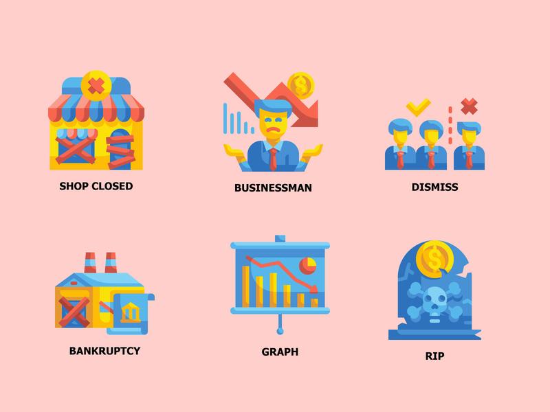 Economic Crisis 6 ICONS down finance money business crisis economic vector illustration color flat icon