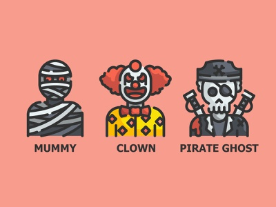 Halloween Costume Avatar icon avatar scare mummy crown halloween ghost design vector illustration line color outline flat icon