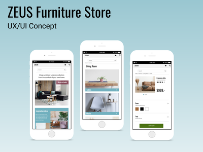 ZEUS Furniture Store ecommerce furniture minimalism layout design design ux ui