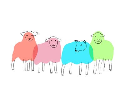 Sheeps Illustrations vector linework minimalism line art lineart sheep