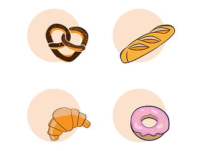 Bretzel icon illustration vector logo