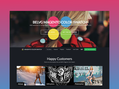 Color Swatch Magento extension landing page gradient landing magento