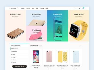 Shopster Magento 2 Template hover state ecommerce design ui website grid ecommerce magento gradient hoverstate hover magento theme magento 2