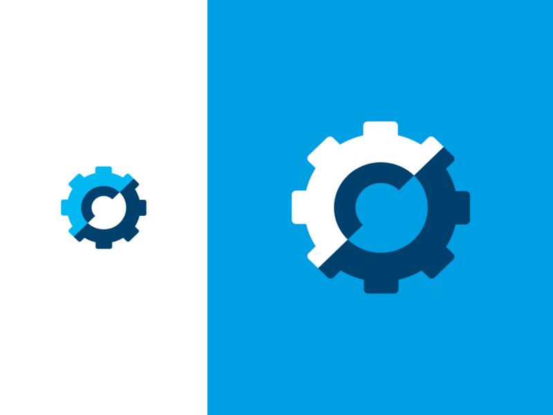 Approved logo for Blom Techniek logos tech logo logodesign designer blue technology vector grid 3d typography gear branding brand logo identity design technical