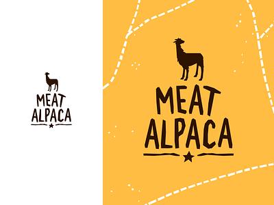 Meat Alpaca logodesigner logodesign designer vector yellow typography mark branding brand logo identity design meat alpaca