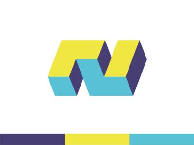 N logo architecture 3d mark brand typography n logo identity design branding