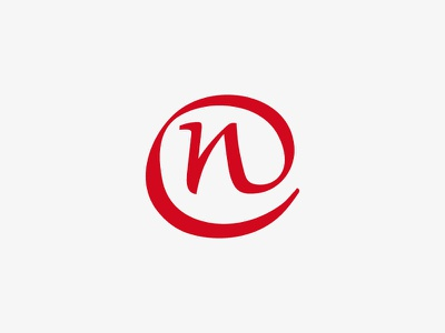 Logo typography red n mark logo identity folder flyer design branding brand