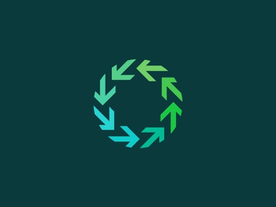 Circle Arrow circle green simple mark logo identity design branding brand arrow