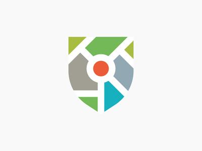 Logo map shield branding brand mark design identity logo shield maps map concept