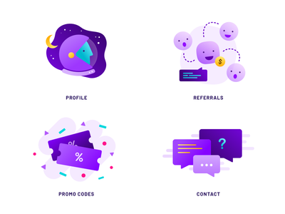 Illustrations for Spaceship Voyager app support contact promo rewards promotion referrals referral profile purple illustrations