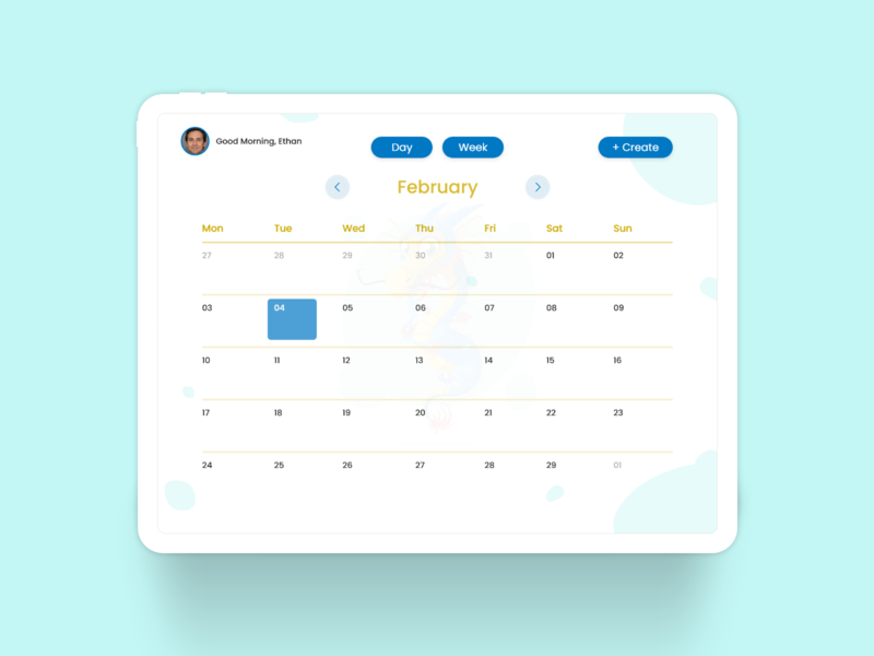 An Interactive Calendar - Month View xd design tablet xddailychallenge ux ipad pro