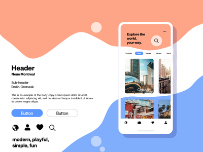 Trip Planning App - Style Tile vector branding typography app ux design ui