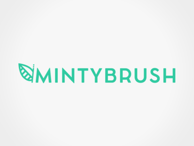 Mintybrush logo green mint iconmark logotype brand identity branding design studio logo
