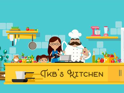 TKB's Kitchen - Completed Illustration clean minimal illustrator chef cooking illustration