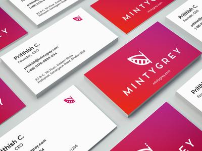 MintyGrey Business Card bright colorful minimal design agency brand identity business card