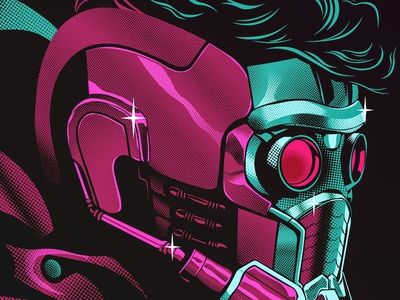 Starlord peter quill infinity war portrait art vector illustration digital avenger starlord