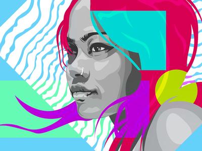 Portrait line art vector vector art colours adobe illustrator personal project illustration