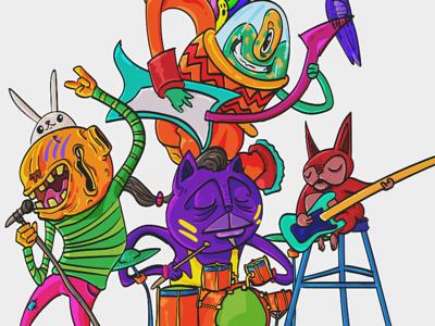Monster Band Rising artwork character design adobe illustrator illustration music rock band monster new gen rising