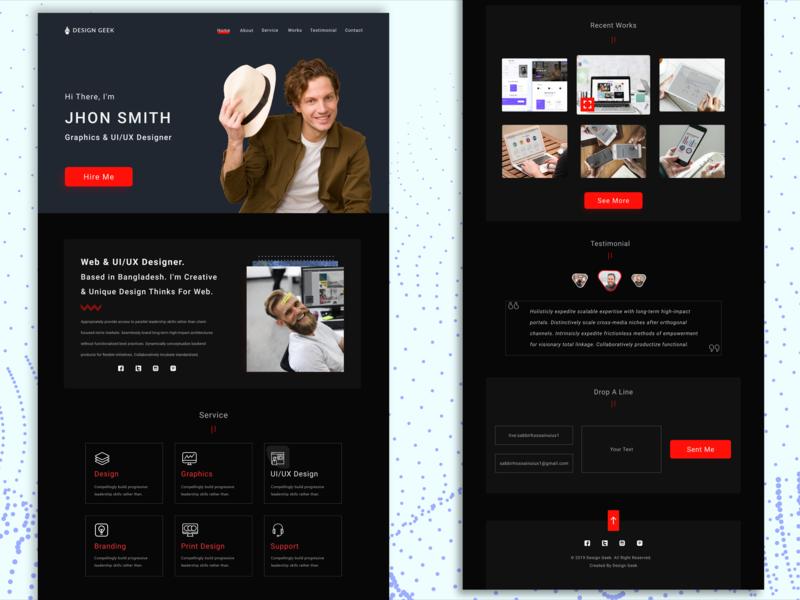 Portfolio Landing Page ux designer ux design portfolio page user profile landing  page ui ux designer ui ux design portfolio landing page