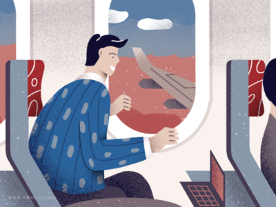 Window illustration cabin airplane seat flight