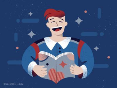 Laughing illustration man book