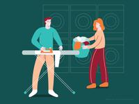 Laundry woman man ironing basket washing machine laundry