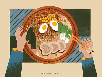 Ramen bowl corns veggie chopsticks asian seaweed pork eggs noodles food ramen